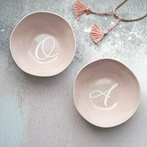 Personalised Monogram Ceramic Pink Trinket Dish