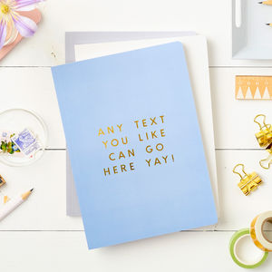 Any Text Foiled Softback Notebook - gifts for her