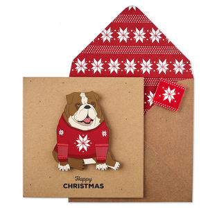 Personalised Christmas Jumper Bulldog Xmas Card - cards & wrap