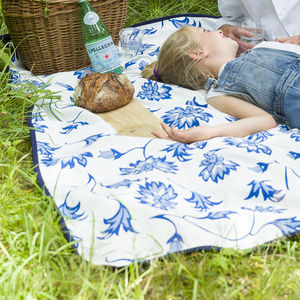 Extra Large Picnic Blanket Blue Flower - outdoor living