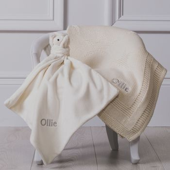 Personalised Cream Bashful Snowy Owl Comforter