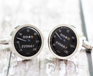 Personalised Black Car Speedometer Cufflinks - jewellery
