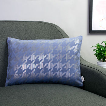 Metallic Dogtooth Cushion In Blue And Gunmetal