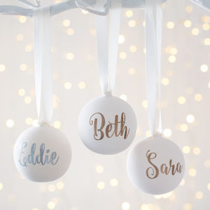 Personalised Ceramic Glitter Bauble - tree decorations