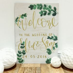 White Wash Eucalyptus Wedding Welcome Sign - outdoor wedding signs