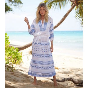 Lola Embroidered Cotton Maxi Length Kaftan/Dress Blue - kaftans