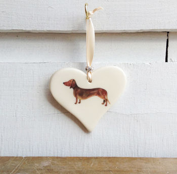 Smooth Haired Dachshund Hanging Heart