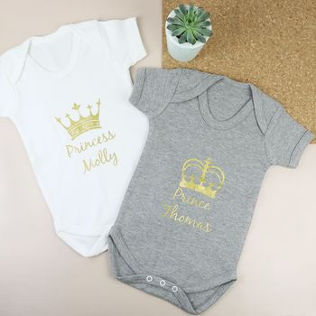 Personalised 'Royalty' Short Sleeved Babygrow