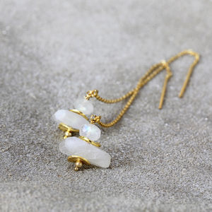 White Moonstone Threader Earrings