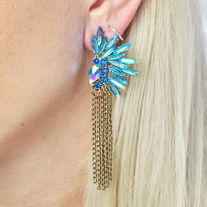 Blue Jewelled Statement Chain Earrings - earrings