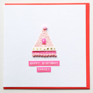 Birthday Girl Party Hat Greeting Card - children's birthday cards