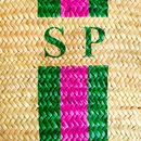 Monogram Stripe Straw Basket Long Leather Handles
