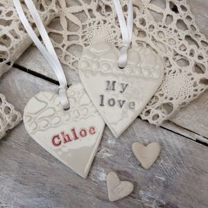 Handmade Ceramic Love Heart Decoration - valentine's day decorations