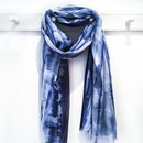 Indigo Blue Ink Spot Print Scarf With Gift Box And Card