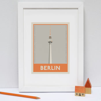 Berlin Stamp Print Orange