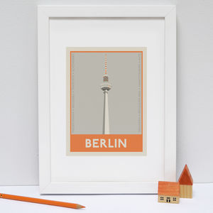 Berlin Stamp Print Orange - architecture & buildings