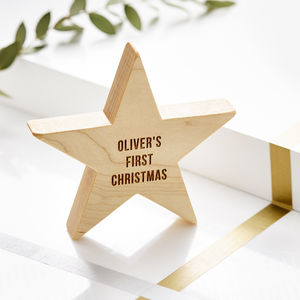 Personalised Baby's First Christmas Wooden Star - baby's first christmas