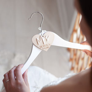 Personalised Heart Bridal Hanger Charm - wedding dress hangers