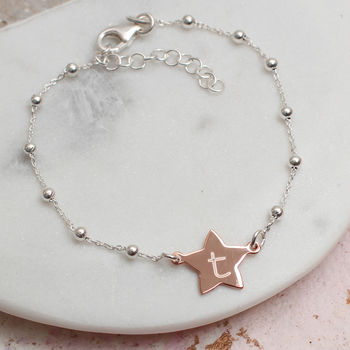 Personalised 18ct Gold Vermeil And Silver Star Bracelet