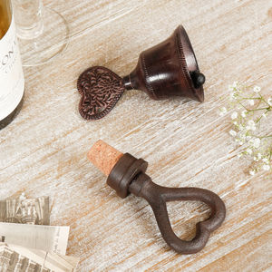 6th Anniversary Cast Iron Heart Bell And Bottle Stopper - ornaments