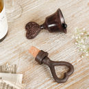 6th Anniversary Cast Iron Heart Bell And Bottle Stopper