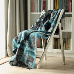Turquoise Merino Wool Throw Marta - throws, blankets & fabric