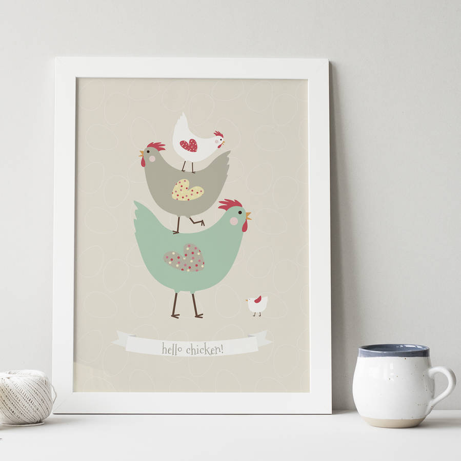 hello chicken chicken gift print by wink design