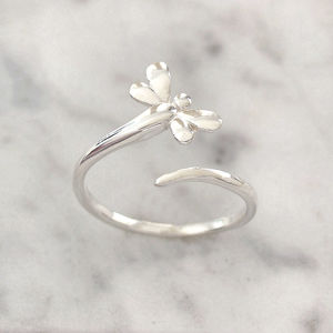Sterling Silver Dragonfly Wrap Ring - rings