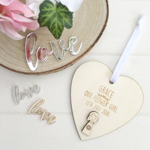 Personalised Flower Girl Or Bridesmaid Heart