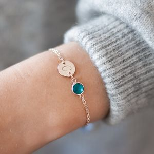 Personalised Initial Disc Birthstone Bracelet