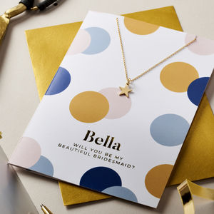 Personalised Bridesmaid Card And Necklace Set