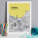 Lisbon print in colour 9-yellow, font style 2, A3 size framed