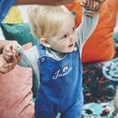Personalised Baby Embroidered Denim Dungarees