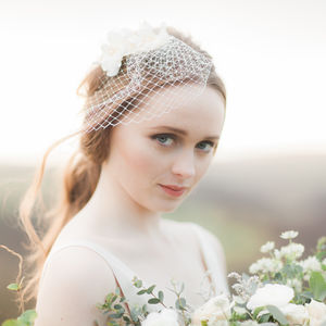 Farrah Flower Birdcage Wedding Veil - bridal hairpieces