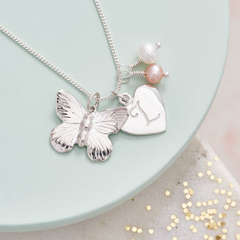 Personalised Silver Butterfly Charm Necklace - Pink and White Fresh Water Pearl Birthstone
