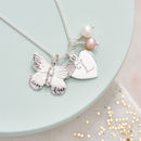 Thumb personalised silver charm butterfly necklace
