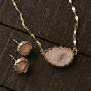 Gold And Opal Pink Druzy Necklace And Earring Set