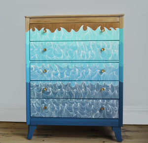 Retro Upcycled Wave Themed Blue Chest Of Drawers