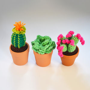 Crocheted Amigurumi Cactus Trio Of Small Pots - view all new