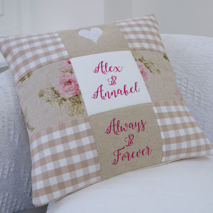 'Always And Forever' Cushion - embroidered & beaded cushions