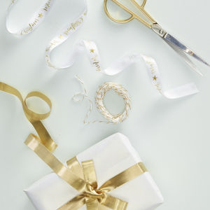 Gold Foiled Merry Christmas Ribbon Wrap Kit - ribbon & bows