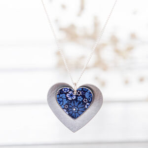 Forget Me Not Double Heart Pendant