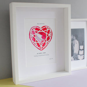 Ruby 40 Years Anniversary Personalised Papercut Print - 40th anniversary: ruby