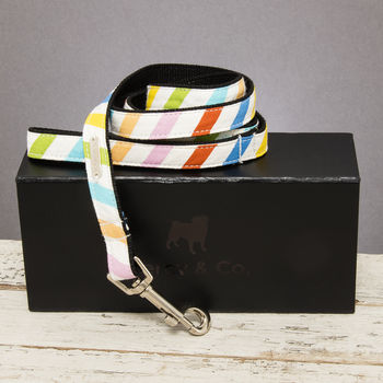 The Thurlestone Pastel Striped Dog Lead