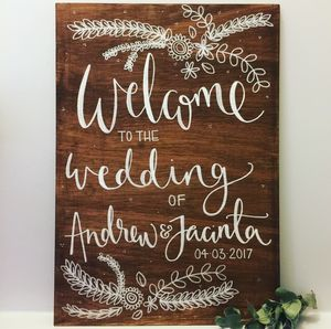 Personalised Welcome Wedding Wooden Sign - natural artisan wedding trend