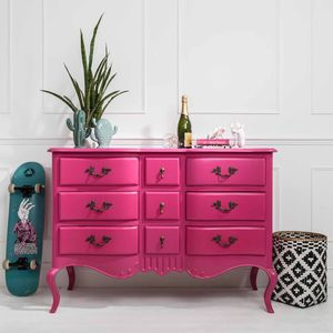 French Nine Drawer Chest In Pink Or Black And Green - chests of drawers