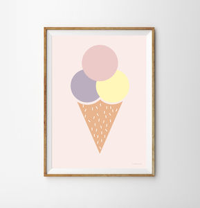 Ice Cream Ball Children's Print - children's pictures & paintings