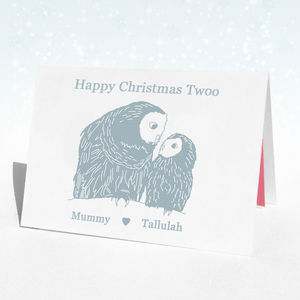 Personalised Christmas Owl Christmas Card - birthday cards