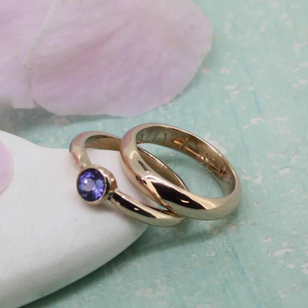 by engagement lavender ring wedding gold tanzanite pin rose rings pear eidelprecious cut