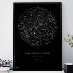 Night Sky Personalised Sky Map In Deep Black - first father's day